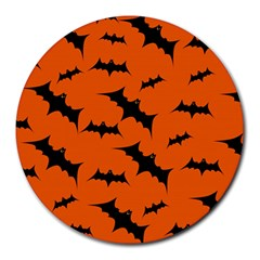 Halloween Card With Bats Flying Pattern Round Mousepads