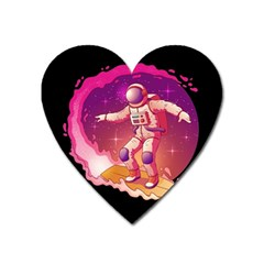 Astronaut Spacesuit Standing Surfboard Surfing Milky Way Stars Heart Magnet by Vaneshart