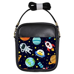 Space Seamless Pattern Girls Sling Bag