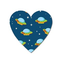 Seamless Pattern Ufo With Star Space Galaxy Background Heart Magnet by Vaneshart