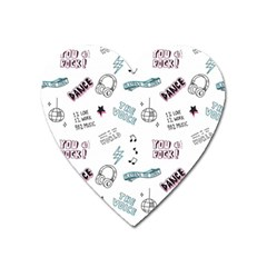 Music Themed Doodle Seamless Background Heart Magnet by Vaneshart