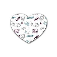 Music Themed Doodle Seamless Background Rubber Coaster (heart)