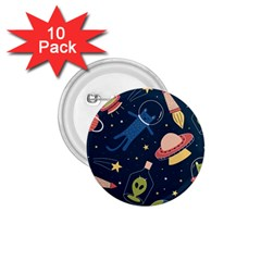 Seamless Pattern With Funny Aliens Cat Galaxy 1 75  Buttons (10 Pack)