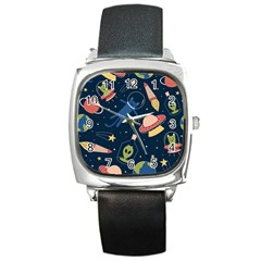 Seamless Pattern With Funny Aliens Cat Galaxy Square Metal Watch