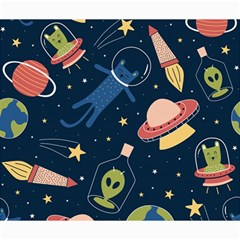 Seamless Pattern With Funny Aliens Cat Galaxy Canvas 20  X 24  by Vaneshart