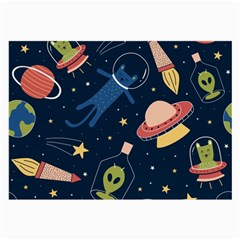 Seamless Pattern With Funny Aliens Cat Galaxy Large Glasses Cloth (2 Sides)