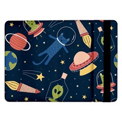 Seamless Pattern With Funny Aliens Cat Galaxy Samsung Galaxy Tab Pro 12 2  Flip Case