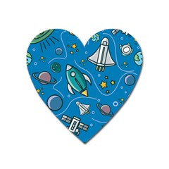About Space Seamless Pattern Heart Magnet by Vaneshart