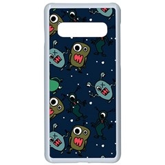 Monster Alien Pattern Seamless Background Samsung Galaxy S10 Seamless Case(white) by Vaneshart