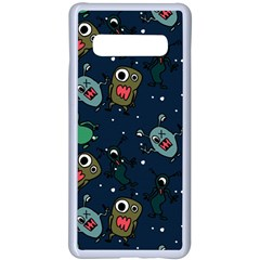 Monster Alien Pattern Seamless Background Samsung Galaxy S10 Plus Seamless Case(white) by Vaneshart