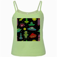 Seamless Pattern With Space Objects Ufo Rockets Aliens Hand Drawn Elements Space Green Spaghetti Tank by Vaneshart