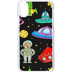 Seamless Pattern With Space Objects Ufo Rockets Aliens Hand Drawn Elements Space Iphone Xs Seamless Case (white)
