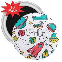 Space Cosmos Seamless Pattern Seamless Pattern Doodle Style 3  Magnets (10 Pack)