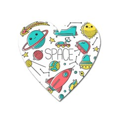 Space Cosmos Seamless Pattern Seamless Pattern Doodle Style Heart Magnet by Vaneshart