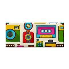 Retro Cameras Audio Cassettes Hand Drawn Pop Art Style Seamless Pattern Hand Towel by Vaneshart