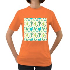 Cactus Succulents Floral Seamless Pattern Women s Dark T-shirt