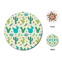 Cactus Succulents Floral Seamless Pattern Playing Cards Single Design (round)