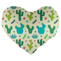 Cactus Succulents Floral Seamless Pattern Large 19  Premium Flano Heart Shape Cushions
