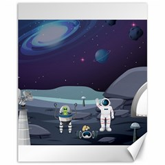 Alien Astronaut Scene Canvas 11  X 14