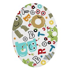 Seamless Pattern Vector With Funny Robots Cartoon Oval Ornament (two Sides) by Vaneshart