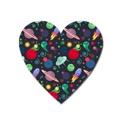 Cosmos Ufo Concept Seamless Pattern Heart Magnet by Vaneshart