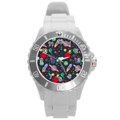 Cosmos Ufo Concept Seamless Pattern Round Plastic Sport Watch (l) by Vaneshart