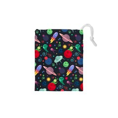 Cosmos Ufo Concept Seamless Pattern Drawstring Pouch (xs) by Vaneshart