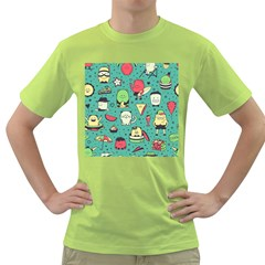 Seamless Pattern With Funny Monsters Cartoon Hand Drawn Characters Unusual Creatures Green T-shirt by Vaneshart