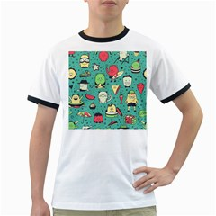Seamless Pattern With Funny Monsters Cartoon Hand Drawn Characters Unusual Creatures Ringer T by Vaneshart