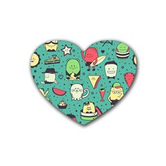 Seamless Pattern With Funny Monsters Cartoon Hand Drawn Characters Unusual Creatures Rubber Coaster (heart)