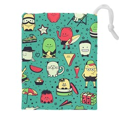 Seamless Pattern With Funny Monsters Cartoon Hand Drawn Characters Unusual Creatures Drawstring Pouch (4xl)