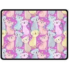 Colorful Cute Cat Seamless Pattern Purple Background Fleece Blanket (large)