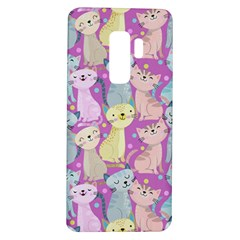 Colorful Cute Cat Seamless Pattern Purple Background Samsung Galaxy S9 Plus Tpu Uv Case by Vaneshart