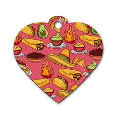 Seamless Pattern Mexican Food Hat Traditional Dog Tag Heart (one Side)