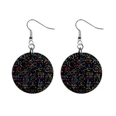 Seamless Pattern With Love Symbols Mini Button Earrings
