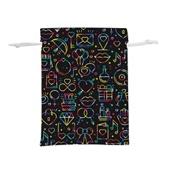 Seamless Pattern With Love Symbols Lightweight Drawstring Pouch (s) by Vaneshart