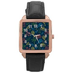 Hand Drawn Brazilian Carnival Seamless Pattern With Maracas Music Instruments Rose Gold Leather Watch