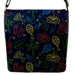 Hand Drawn Brazilian Carnival Seamless Pattern With Maracas Music Instruments Flap Closure Messenger Bag (s)