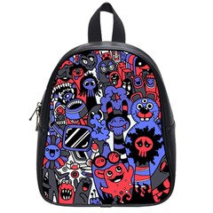 Cute Halloween Monsters Set Background School Bag (small)