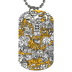 Hand Drawn Vector Illustration Doodle Funny World Dog Tag (one Side) by Vaneshart
