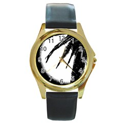 Black And White Tropical Moonscape Illustration Round Gold Metal Watch by dflcprintsclothing