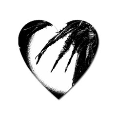 Black And White Tropical Moonscape Illustration Heart Magnet by dflcprintsclothing