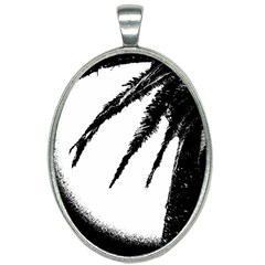 Black And White Tropical Moonscape Illustration Oval Necklace by dflcprintsclothing