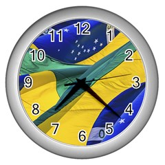 Brazil Flags Waving Background Wall Clock (silver) by dflcprintsclothing