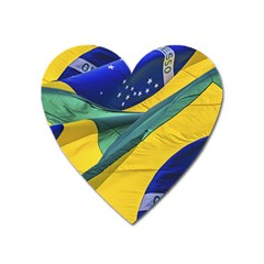 Brazil Flags Waving Background Heart Magnet by dflcprintsclothing