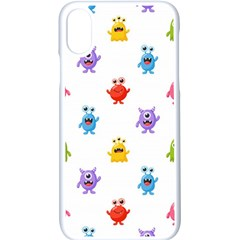 Seamless Pattern Cute Funny Monster Cartoon Isolated White Background Iphone Xs Seamless Case (white)