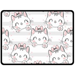 Cat With Bow Pattern Fleece Blanket (large)