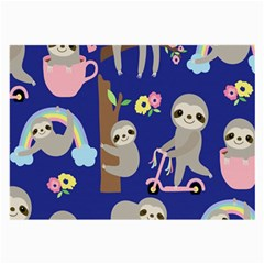 Hand Drawn Cute Sloth Pattern Background Large Glasses Cloth