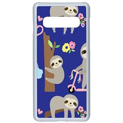 Hand Drawn Cute Sloth Pattern Background Samsung Galaxy S10 Seamless Case(white)