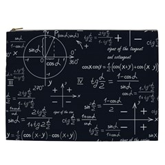 Mathematical Seamless Pattern With Geometric Shapes Formulas Cosmetic Bag (xxl)